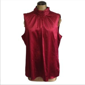 EUC THE LIMITED SILKY RED KEYHOLE TUNIC TOP XL